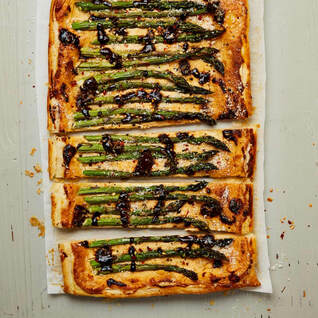 Asparagus black garlic tart