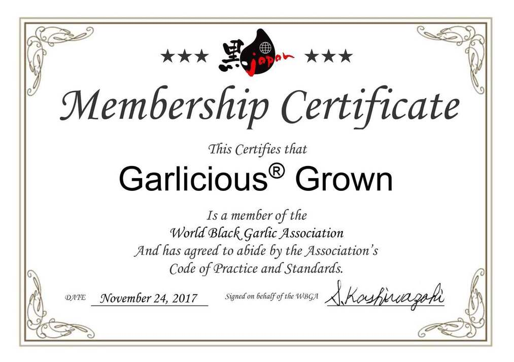 World Black Garlic Association certificate